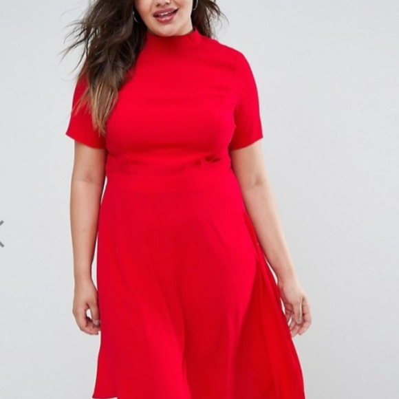 6e9a0e79c27d ASOS Curve Dresses | Plus Size Fit And Flare Red Dress | Poshmark